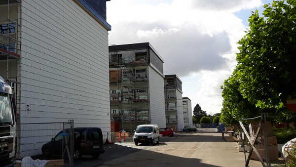 Blokke på UCL i Odense før facaderens