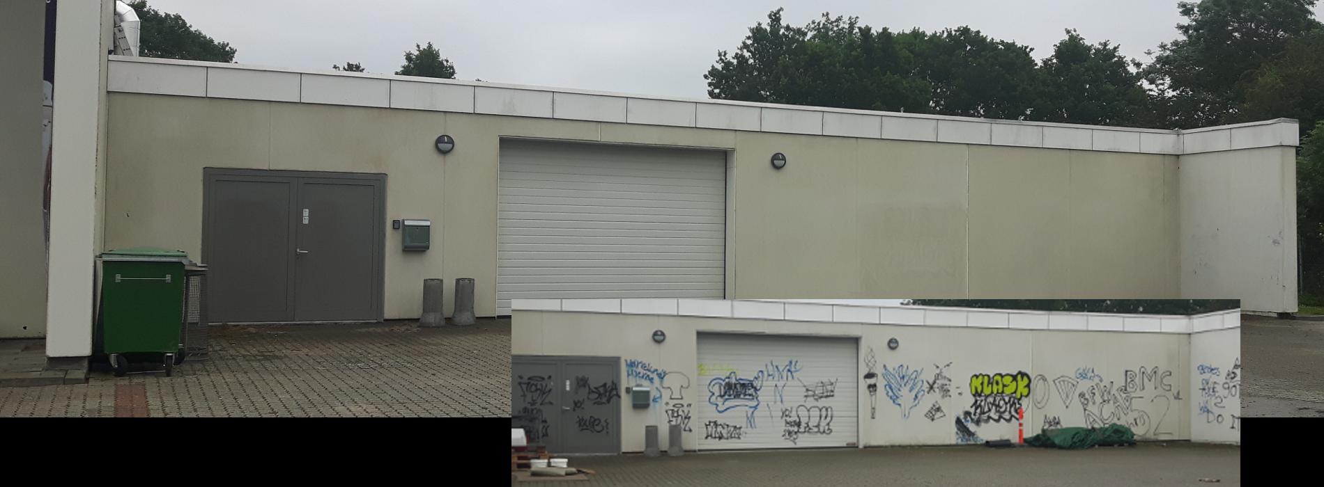 Billedet viser en facade overmalet med graffiti før og efter den er blevet renset med kemi og hedvand